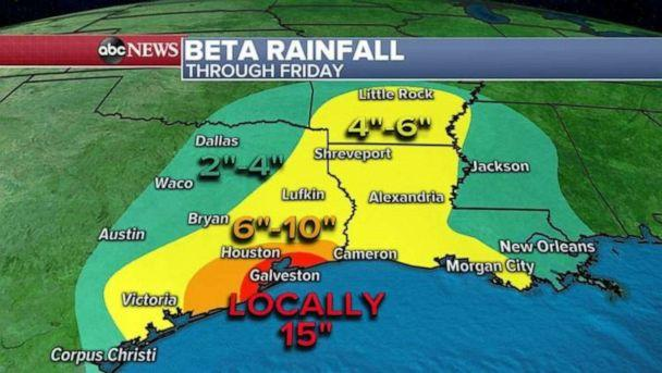 PHOTO: As Beta moves on shore this evening, it will stall and sit in one spot for almost two days which could bring as much as 15 inches of rain to Galveston and 6 to 10 inches to Houston. (ABC News)