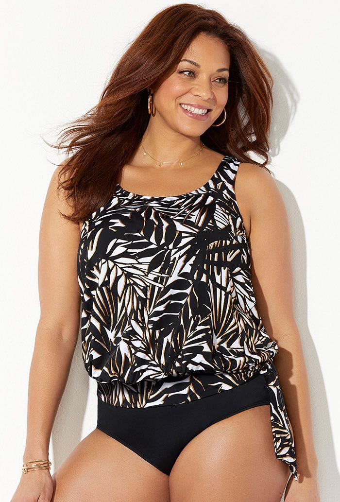 Mystify Side Tie Blouson Tankini Top. Image via Swimsuits for All.
