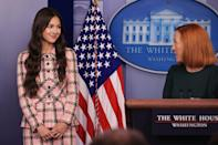 """<ul> <li><strong>What to wear: </strong><a href=""""https://www.popsugar.com/fashion/olivia-rodrigo-vintage-chanel-outfit-white-house-visit-48418463"""" class=""""link rapid-noclick-resp"""" rel=""""nofollow noopener"""" target=""""_blank"""" data-ylk=""""slk:Olivia Rodrigo headed to the White House"""">Olivia Rodrigo headed to the White House</a> in July to speak on COVID-19 vaccinations, and her Elle Woods-esque tweed suit was a crowd-pleaser. To get the look, find a pink tweed suit and pair it with a teeny black handbag. </li> </ul>"""
