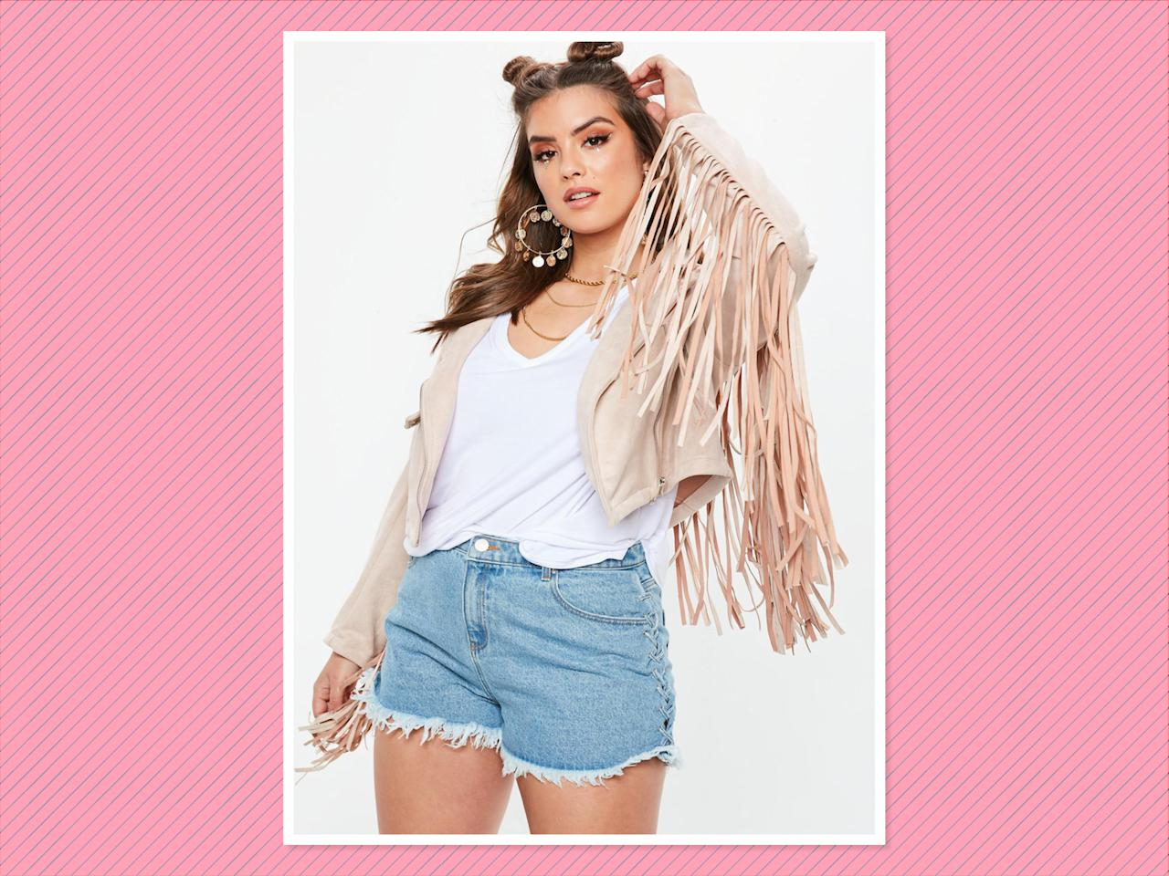 "<p>Curve Stone Faux Suede Fringed Biker Jacket, $77, <a rel=""nofollow"" href=""https://www.missguidedus.com/curve-stone-faux-suede-fringed-biker-jacket-10097460"">Missguided</a> (Photo: Missguided) </p>"