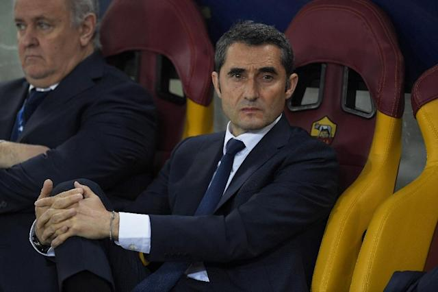 Barcelona coach Ernesto Valverde has told his team to dry their tears and get on with winning the Spanish league (AFP Photo/LLUIS GENE)
