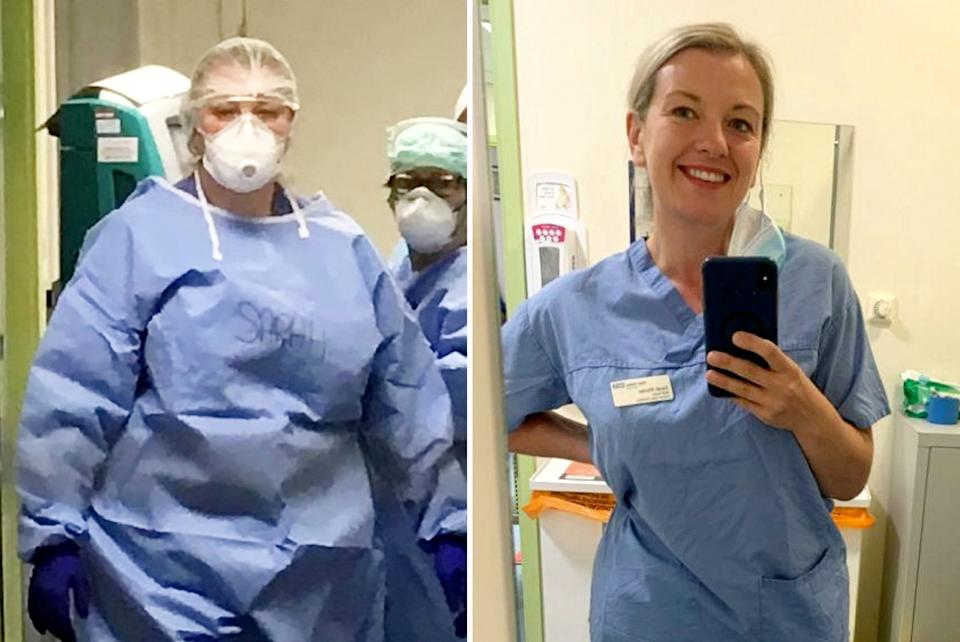 Nurse, Sarah Wynter, dropped five dress sizes after becoming scared of catching COVID. (SWNS)