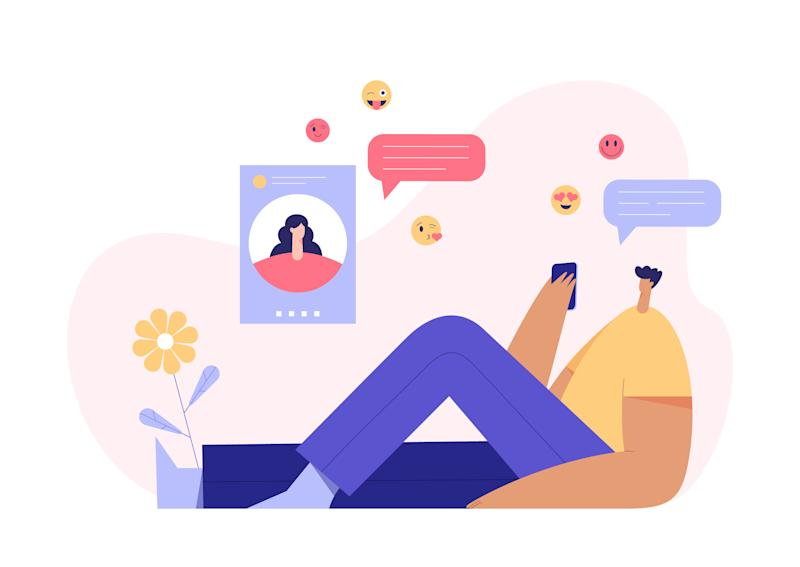 Man and woman video chatting concept, modern character profile on display and emoji on the background. Online dating application and virtual relationship. Flat vector illustration.