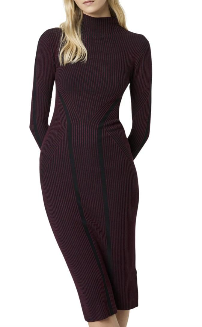<p>You'll feel confident and sexy in this formfitting <span>French Connection Simona Long Sleeve Rib Sweater Dress</span> ($83, originally $138).</p>