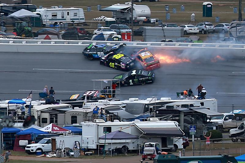 This wreck happened when Alex Bowman mistimed a block while defending the race lead at the end of the second stage. (Photo by Sean Gardner/Getty Images)