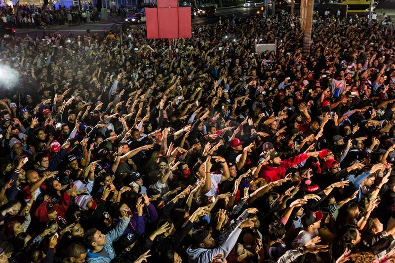 Kendick Lamar fans fills the streets of downtown Los Angeles for his Crash Concerts.