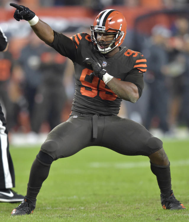 Cleveland Browns defensive end Myles Garrett celebrates a sack during the first half of an NFL football game against the New York Jets, Thursday, Sept. 20, 2018, in Cleveland. (AP Photo/David Richard)