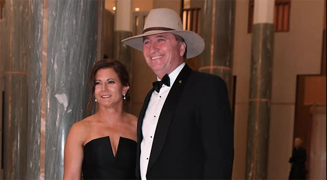 Deputy Prime Minister Barnaby Joyce pictured with wife, Natalie, in June last year. Source: AAP