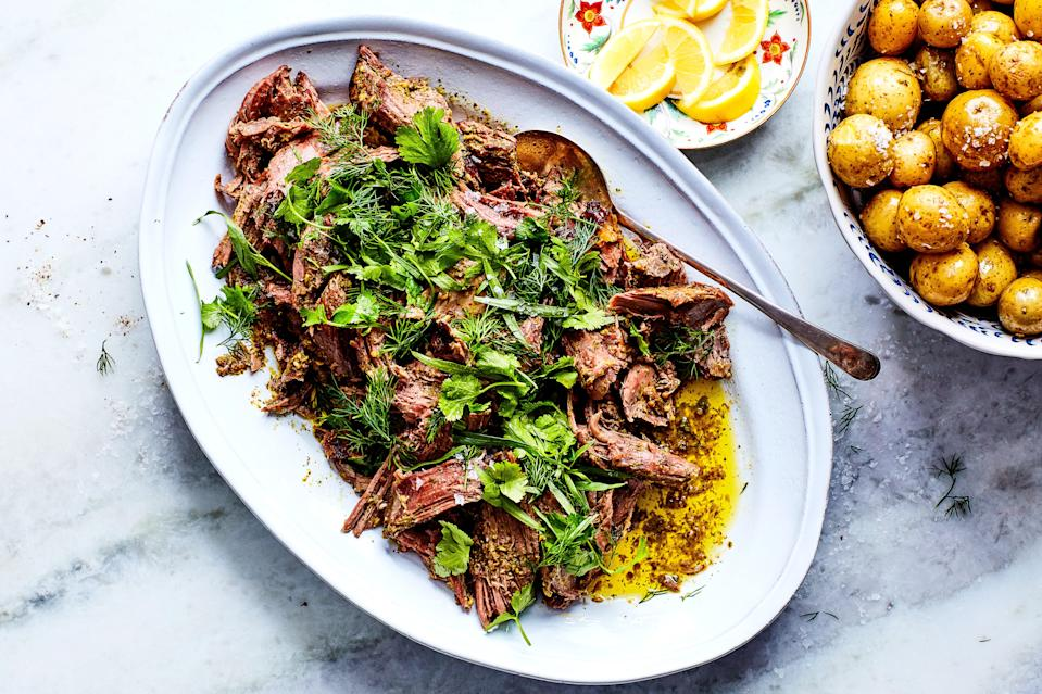 """Any tender herb or green can be used in this riff on a traditional Georgian spring dish. Try combining cilantro, tarragon, mint, basil, dill, chives, watercress, or sorrel if you can find it. <a href=""""https://www.epicurious.com/recipes/food/views/spring-lamb-in-herbs?mbid=synd_yahoo_rss"""" rel=""""nofollow noopener"""" target=""""_blank"""" data-ylk=""""slk:See recipe."""" class=""""link rapid-noclick-resp"""">See recipe.</a>"""