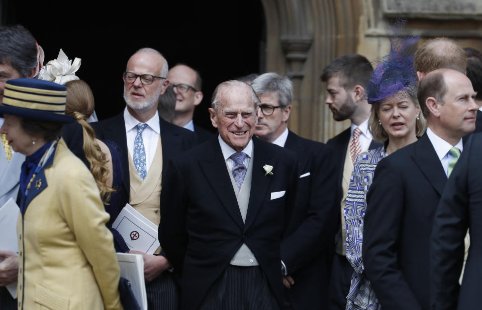 WINDSOR, ENGLAND - MAY 18: Prince Philip, Duke of Edinburgh leaves after the wedding of Lady Gabriella Windsor and Thomas Kingston at St George's Chapel, Windsor Castle on May 18, 2019 in Windsor, England. (Photo by Frank Augstein  - WPA Pool/Getty Images)