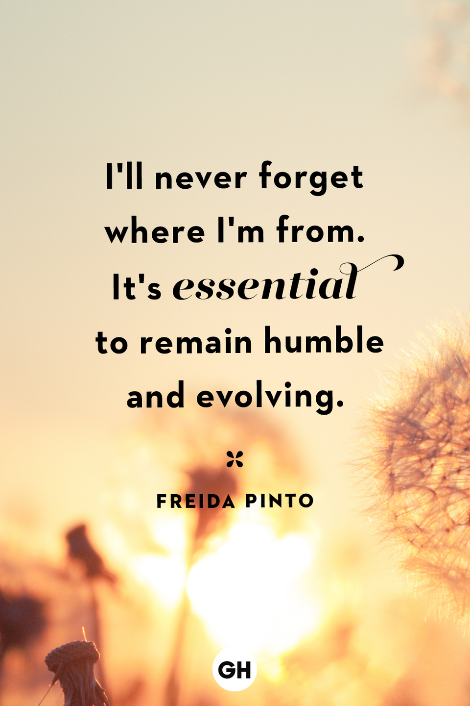 <p>I'll never forget where I'm from. It's essential to remain humble and evolving.</p>