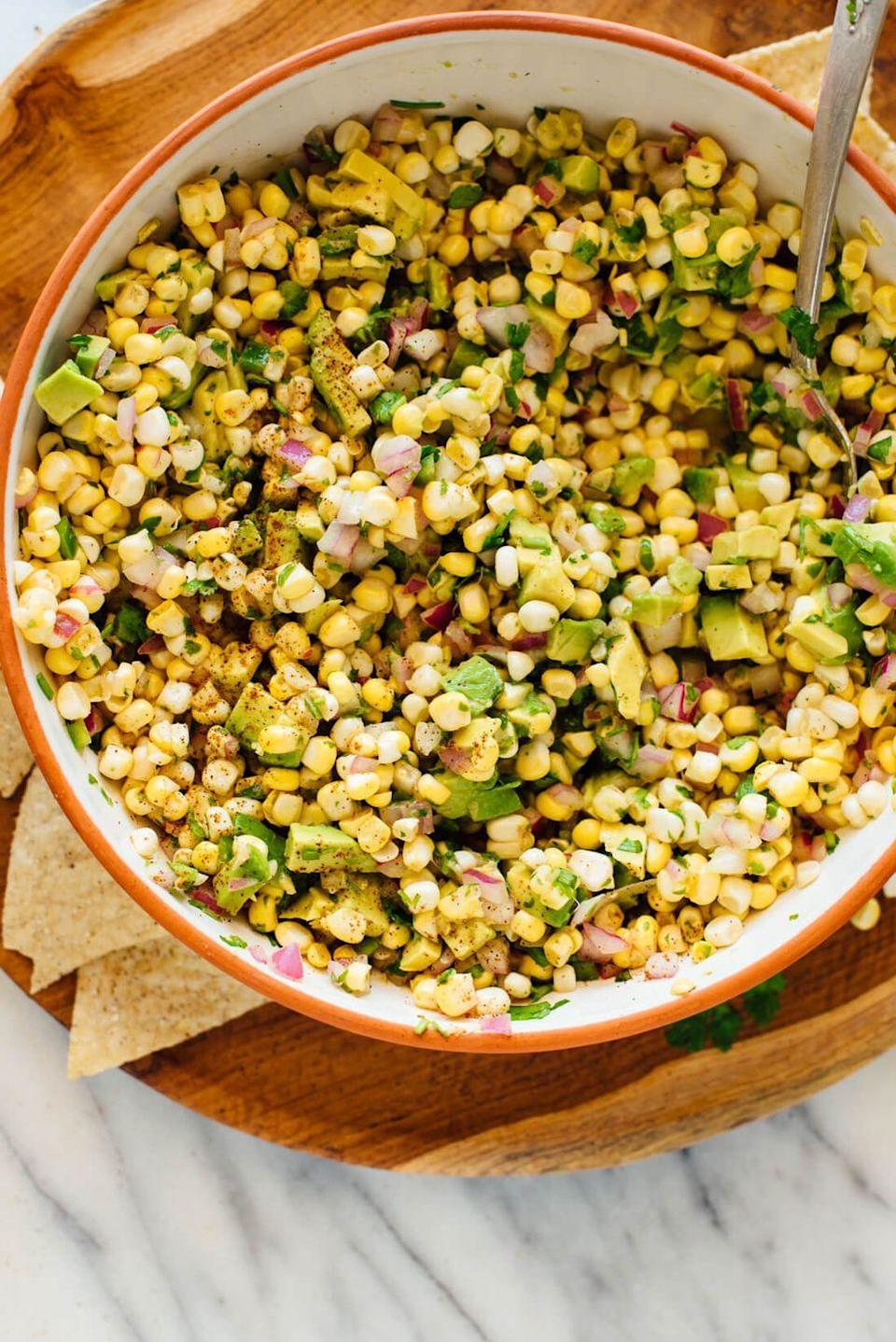 "<p>For a refreshing snack, make this easy fresh corn salsa. Pile it high on tortilla chips and enjoy.</p><p><strong>Get the recipe <a href=""https://cookieandkate.com/fresh-corn-salsa-recipe/"" rel=""nofollow noopener"" target=""_blank"" data-ylk=""slk:Cookie + Kate"" class=""link rapid-noclick-resp"">Cookie + Kate</a>.</strong></p><p><strong><a class=""link rapid-noclick-resp"" href=""https://go.redirectingat.com?id=74968X1596630&url=https%3A%2F%2Fwww.walmart.com%2Fsearch%2F%3Fquery%3Dmixing%2Bbowls&sref=https%3A%2F%2Fwww.thepioneerwoman.com%2Ffood-cooking%2Fmeals-menus%2Fg35993911%2Fbest-corn-recipes%2F"" rel=""nofollow noopener"" target=""_blank"" data-ylk=""slk:SHOP MIXING BOWLS"">SHOP MIXING BOWLS</a><br></strong></p>"