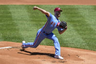 Philadelphia Phillies starting pitcher Zack Wheeler throws the ball during the first inning of a baseball game against the Milwaukee Brewers, Thursday, May 6, 2021, in Philadelphia. (AP Photo/Derik Hamilton)
