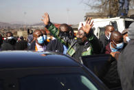 South African President Cyril Ramaphosa, on a visit to Soweto, South Africa, Sunday July 18 2021. Ramaphosa went to Johannesburg's Soweto township to view badly damaged retail centers where people were trampled to death in rioting sparked by the imprisonment of former President Jacob Zuma. (AP Photo/Oupa Nkosi)