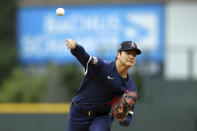 American League's Shohei Ohtani, of the Los Angeles Angels, throws during the first inning of the 91st MLB baseball All-Star Game, Tuesday, July 13, 2021 in Denver. (AP Photo/Alex Trautwig, Pool)