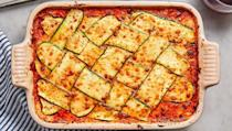 """<p>Sure, <a href=""""https://www.delish.com/uk/cooking/recipes/a28831487/classic-lasagne-recipe/"""" rel=""""nofollow noopener"""" target=""""_blank"""" data-ylk=""""slk:Classic Lasagne"""" class=""""link rapid-noclick-resp"""">Classic Lasagne </a>is delicious. Sometimes, though, we crave something a tad less carb-heavy. This courgette lattice lasagne is the perfect way to lighten up the classic dish for summer. Pro tip: <a href=""""https://www.delish.com/uk/cooking/recipes/g28961915/courgette-recipes/"""" rel=""""nofollow noopener"""" target=""""_blank"""" data-ylk=""""slk:courgette"""" class=""""link rapid-noclick-resp"""">courgette</a> releases a good amount of water, so we like to dab it with a paper towel when the lasagne is done cooking, and then grill until the cheese is bubbly and crispy. 😍 </p><p>Get the <a href=""""https://www.delish.com/uk/cooking/recipes/a32048234/zucchini-lattice-lasagna-recipe/"""" rel=""""nofollow noopener"""" target=""""_blank"""" data-ylk=""""slk:Courgette Lattice Lasagne"""" class=""""link rapid-noclick-resp"""">Courgette Lattice Lasagne</a> recipe.</p>"""