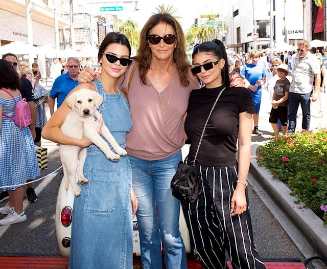 <p>Although there's been some friction between Caitlyn and her family since she released a tell-all book in April, she spent Father's Day with daughters Kendall and Kylie, as well as her puppy Bertha, at the Rodeo Drive Concours d'Elegance in Beverly Hills. (Photo: Earl Gibson III/Getty Images) </p>