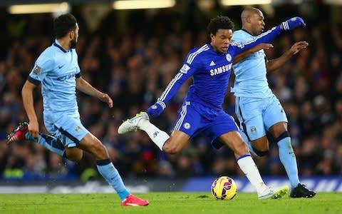 <span>Loic Remy battles Fernandinho for the ball during Chelsea-Manchester City at Stamford Bridge in January 2015 </span> <span>Credit: Getty Images </span>