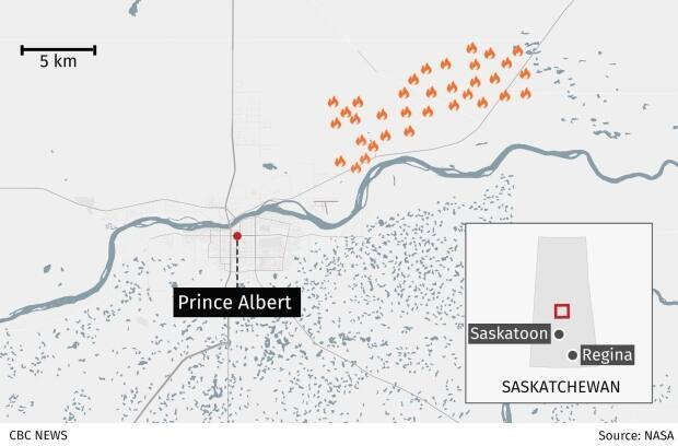 The locations of the Prince Albert fires in Saskatchewan.