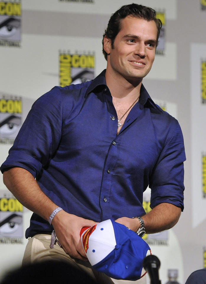 "Henry Cavill attends the ""Superman"" 75th Anniversary panel on Day 4 of the Comic-Con International on Saturday, July 20, 2013 in San Diego. (Photo by Chris Pizzello/Invision/AP)"