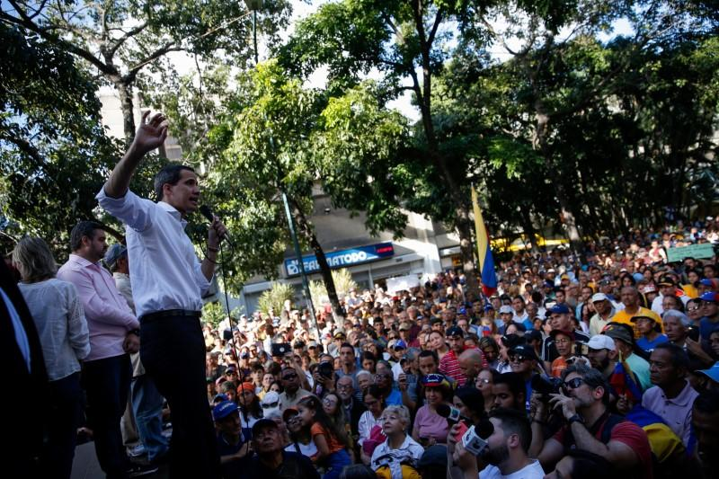 Juan Guaido, president of Venezuela's National Assembly speaks during a citizen assembly in Caracas