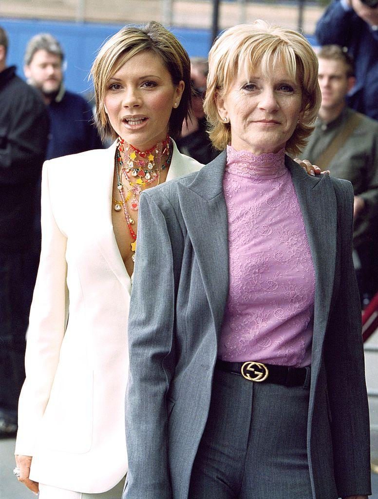 Victoria Beckham and mother Jackie Adams attend the 'Pride Of Britain' Awards at London's Hilton Hotel in 2002. (Getty Images)