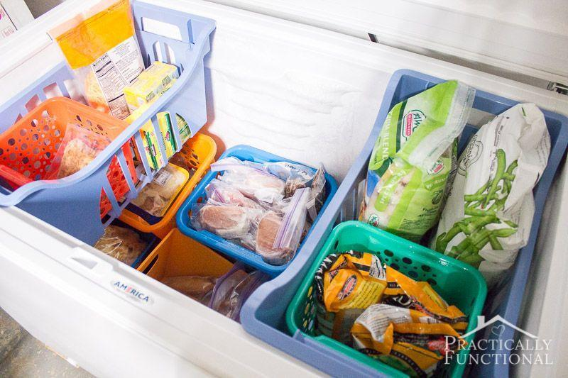 """<p>Colorful bins add a little more style to this purely functional space, while also cutting down the chaos that is filling a chest freezer. Now you'll be able to easily get to the frozen broccoli without having to dig through bags of frozen fries. </p><p><a href=""""http://www.practicallyfunctional.com/chest-freezer-organization-system/"""" rel=""""nofollow noopener"""" target=""""_blank"""" data-ylk=""""slk:See more at Practically Functional »"""" class=""""link rapid-noclick-resp""""><em>See more at Practically Functional »</em></a></p>"""
