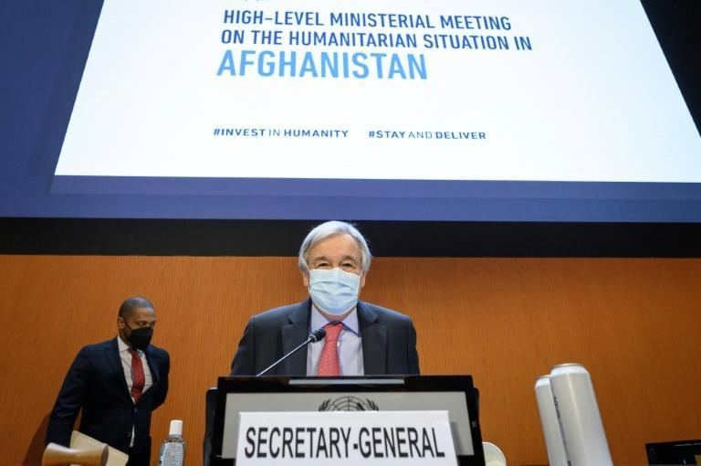 UN Secretary-General Antonio Guterres in Geneva: 'This conference is not simply about what we will give to the people of Afghanistan. It is about what we owe' (AFP/Fabrice COFFRINI)
