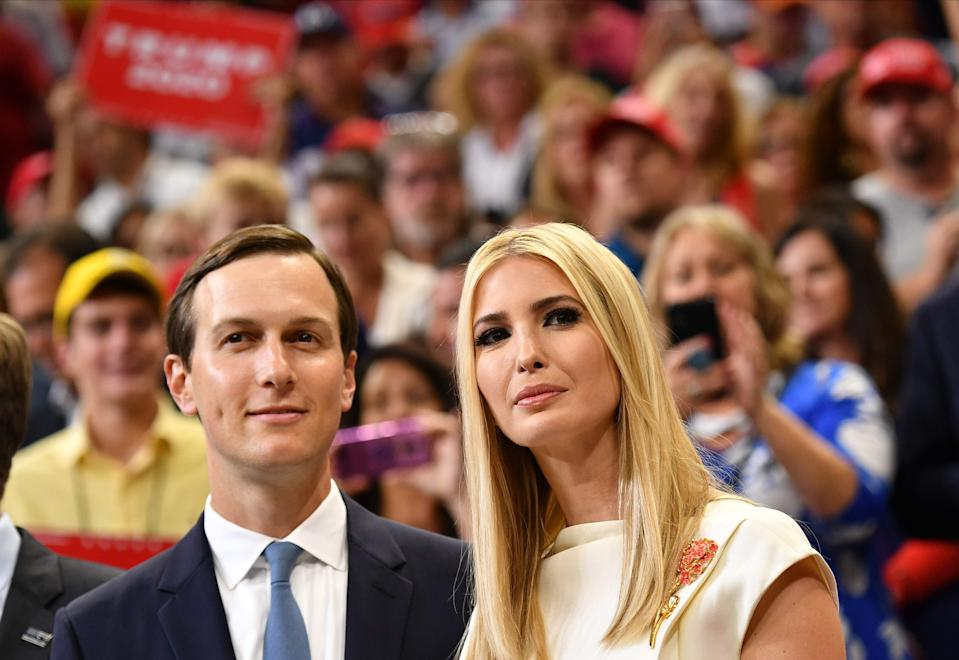Jared Kushner and Ivanka Trump at the official launch of the Trump 2020 campaign in Orlando on June 18, 2019.