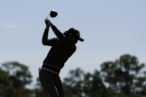 Defending champion Jeongeun Lee6, of South Korea, hits from the second tee during practice for the U.S. Women's Open golf tournament, Tuesday, Dec. 8, 2020, in Houston. (AP Photo/Eric Gay)