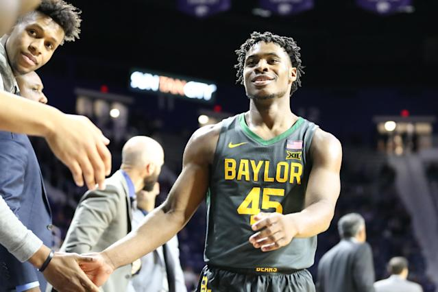 MANHATTAN, KS - FEBRUARY 03: Baylor Bears guard Davion Mitchell (45) is greeted by teammates after fouling out late in the second half of a Big 12 basketball game between the Baylor Bears and Kansas State Wildcats on February 3, 2020 at Bramlage Coliseum in Manhattan, KS. (Photo by Scott Winters/Icon Sportswire via Getty Images)
