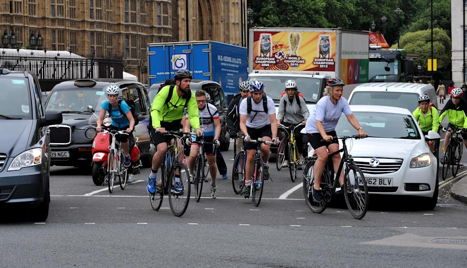 Stock photo of cycling commuters in central London.   (Photo by Nick Ansell/PA Images via Getty Images)