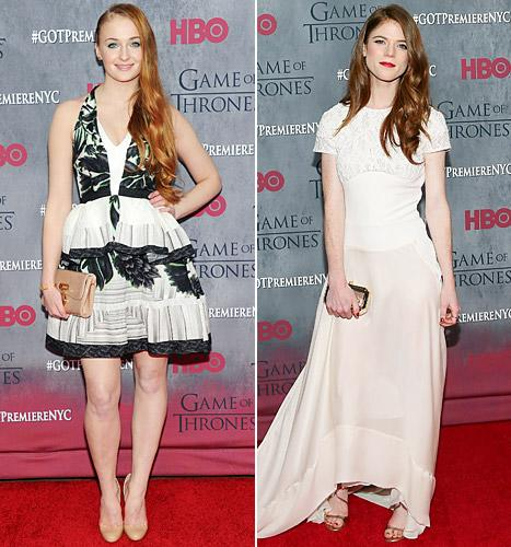 Sophie Turner and Rose Leslie look glam at the Game of Thrones season four premiere in NYC