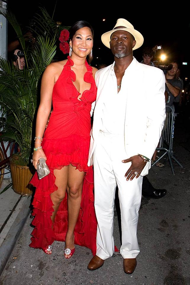 "Kimora Lee Simmons and Djimon Hounsou really took the party's theme to heart. Janet Mayer/<a href=""http://www.splashnewsonline.com"" target=""new"">Splash News</a> - September 14, 2008"