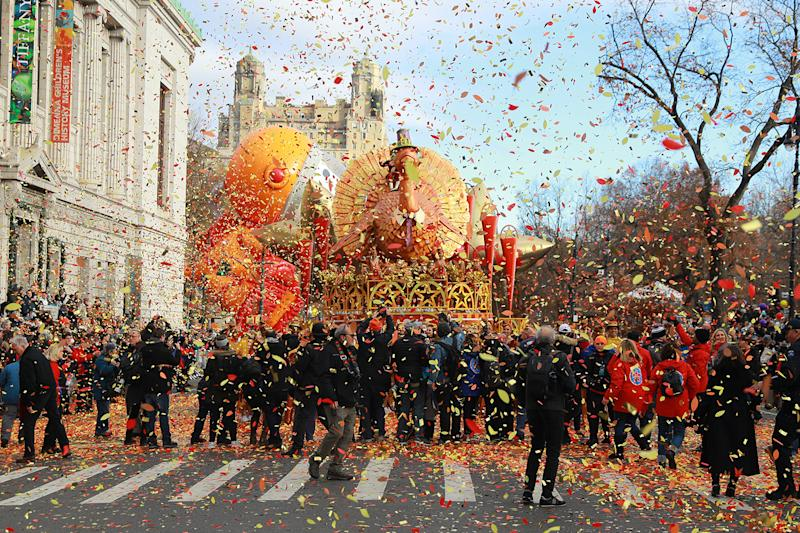 Colorful confetti is shot in the air from the Tom Turkey float at the start of the 93rd Macy's Thanksgiving Day Parade in New York City. (Photo: Gordon Donovan/Yahoo News)
