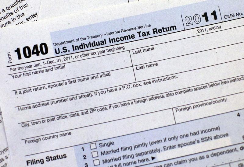 A 2011 U.S. Individual Income Tax Return form is seen in New York
