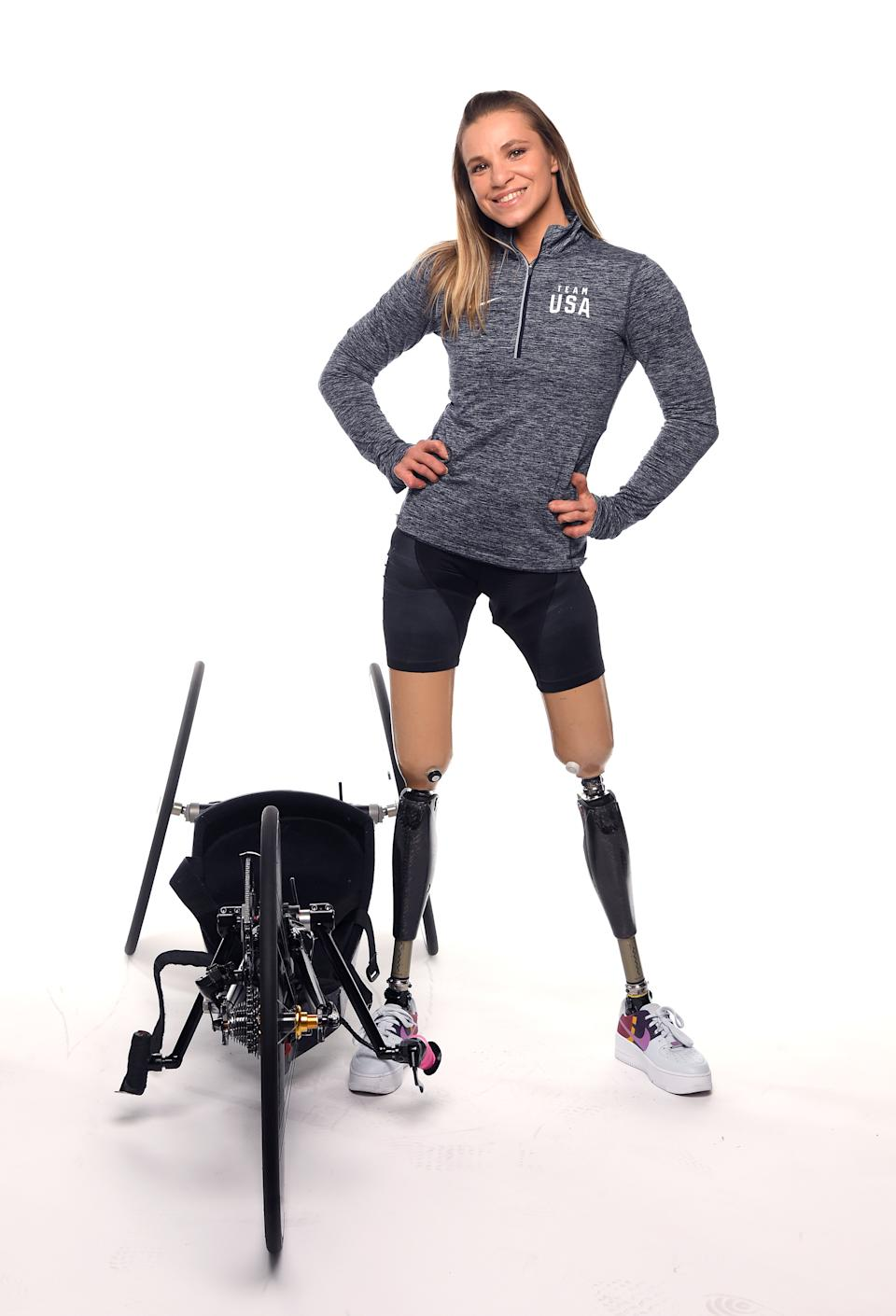 WEST HOLLYWOOD, CALIFORNIA - NOVEMBER 20: Para cyclist Oksana Masters poses for a portrait during the Team USA Tokyo 2020 Olympics shoot on November 20, 2019 in West Hollywood, California. (Photo by Harry How/Getty Images)