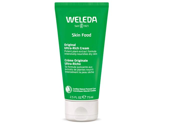 "If you haven&rsquo;t heard of <a href=""https://amzn.to/39TWj7K"" rel=""nofollow noopener"" target=""_blank"" data-ylk=""slk:Weleda Skin Food"" class=""link rapid-noclick-resp"">Weleda Skin Food</a> before, here&rsquo;s your chance to become a cult user. I first purchased Skin Food intending to use it on my hands at night (I like a thick cream on my hands before I sleep!). I quickly realized that the cream is so incredibly thick that it actually works really well on ultra-dry and rough spots of skin (heels, elbows, etc.). Now, after weeks of excessively washing my hands, I'm turning back to a tried-and-trusted favorite to soothe my cracked knuckles and flaky skin. It's <a href=""https://amzn.to/39TWj7K"" rel=""nofollow noopener"" target=""_blank"" data-ylk=""slk:smells faintly of lemongrass"" class=""link rapid-noclick-resp"">smells faintly of lemongrass</a>, and goes on extremely thick, so you have to work it into your skin. I particularly love that it's all natural. <strong>&mdash; Brittany Nims, Head of HuffPost Commerce Content</strong><br><br><a href=""https://amzn.to/39TWj7K"" rel=""nofollow noopener"" target=""_blank"" data-ylk=""slk:Find Weleda Skin Food for $13 on Amazon"" class=""link rapid-noclick-resp"">Find Weleda Skin Food for $13 on Amazon</a>"