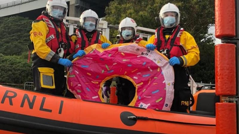 Teenagers drifting out to sea on 'inflatable doughnut' rescued by helicopter