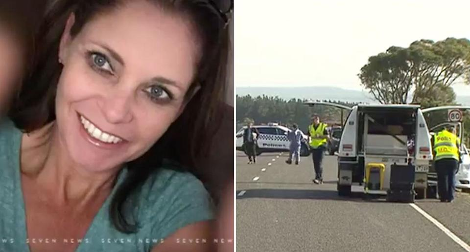 Mother-of-three Gayle Potter (left) was killed in a hit-and-run outside her home at Traralgon in the Latrobe Valley (right). Source: 7 News
