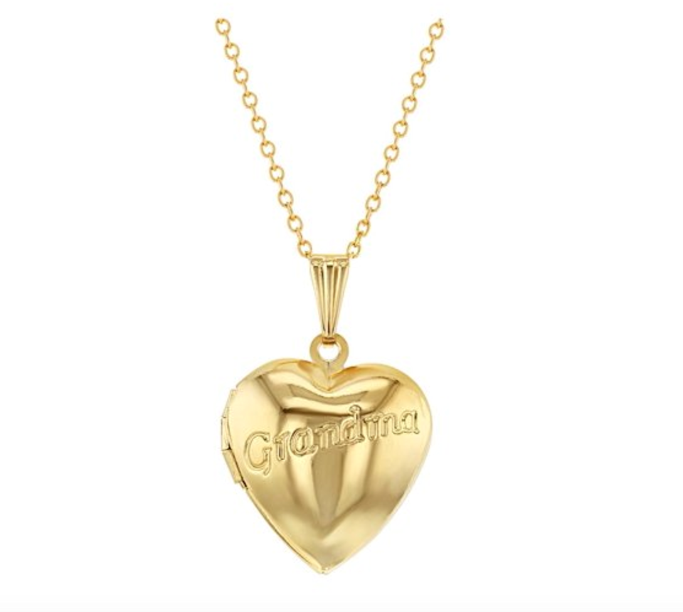 """<br> <br> <strong>In Season Jewelry</strong> Grandma Locket Necklace Pendant, $, available at <a href=""""https://go.skimresources.com/?id=30283X879131&url=https%3A%2F%2Fwww.walmart.com%2Fip%2FGrandma-Locket-Necklace-Pendant-Heart-Photo-Family-19%2F112203166"""" rel=""""nofollow noopener"""" target=""""_blank"""" data-ylk=""""slk:Walmart"""" class=""""link rapid-noclick-resp"""">Walmart</a>"""