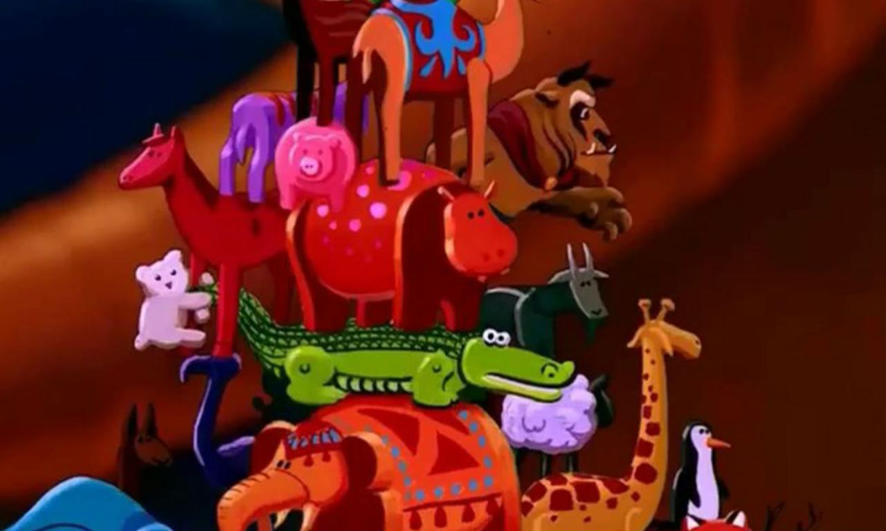<p>In the animated film, the Beast appears as one of the stacking toys the Sultan plays with. </p>
