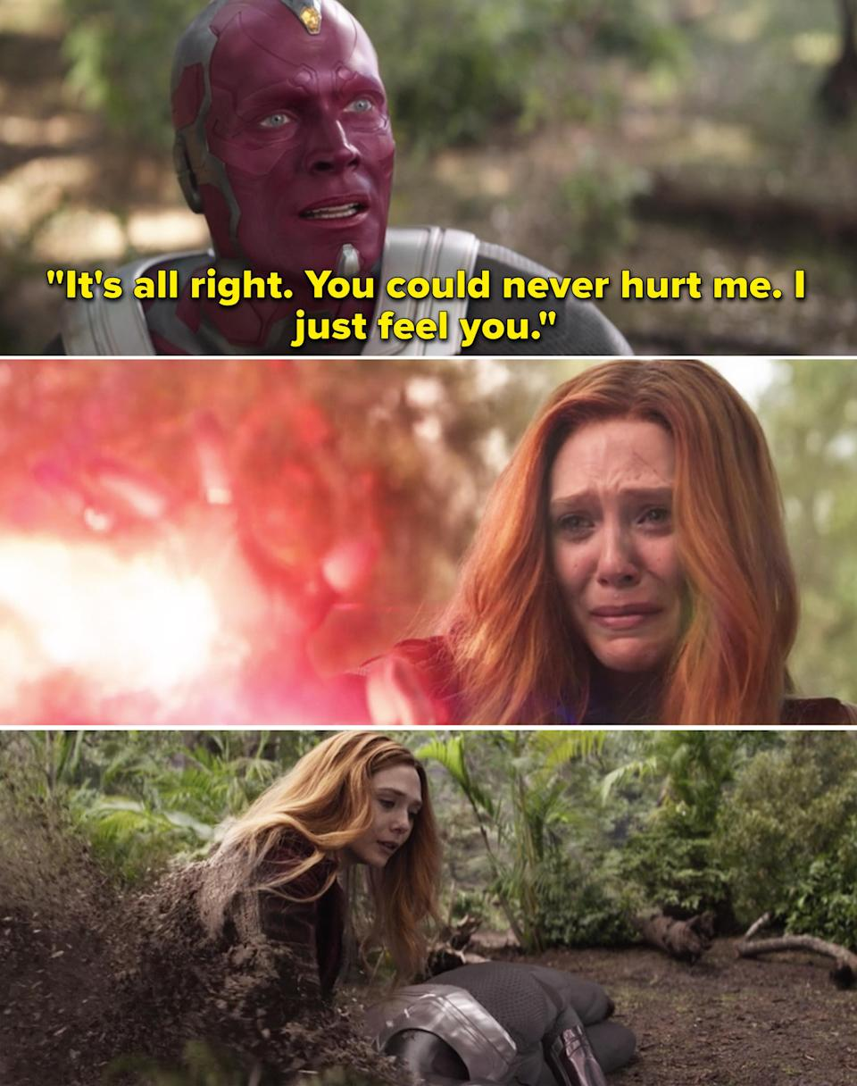 """Vision telling Wanda, """"It's all right. You could never hurt me. I just feel you"""""""