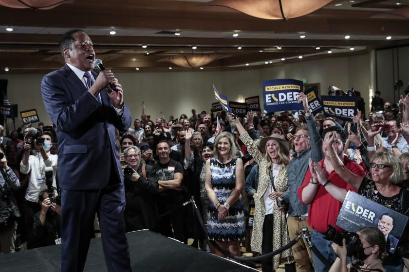 Costa Mesa, CA, Tuesday, September 14, 2021 - Governor recall candidate Larry Elder rallies supporters at the Orange County Hilton. (Robert Gauthier/Los Angeles Times)