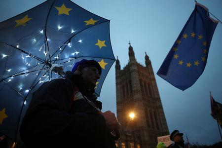 An anti-Brexit protester demonstrates outside the Houses of Parliament, in Westminster, London