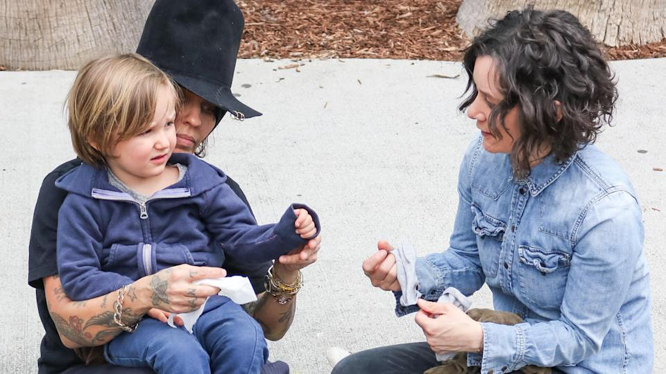 Mandatory Credit: Photo by Shutterstock (10191046f)Linda Perry, Sara Gilbert with son RhodesLinda Perry out and about, Los Angeles, USA - 07 Apr 2019.