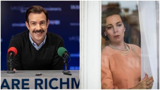 This combination photo shows stills from Apple TV's Ted Lasso, left, and Netflix's The Crown. Both shows won big at the Emmys on Sunday, and illustrate the rising influence of streaming services in the TV industry.  (Apple TV, Sophie Mutevelian/Netflix - image credit)