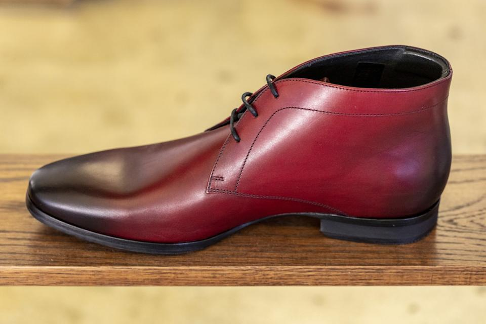 "The Striker Chukka in Spanish red on display at Wolf & Shepherd's headquarters. <span class=""copyright"">(Ricardo DeAratanha / Los Angeles Times)</span>"