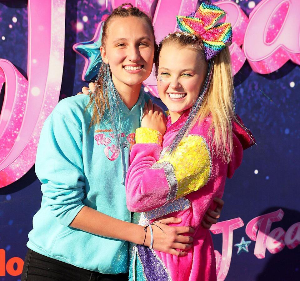 """Kylie Prew and JoJo Siwa attend a drive-in screening and performance for the Paramount+ original movie """"The J Team"""" at the Rose Bowl on September 03, 2021 in Pasadena, California."""