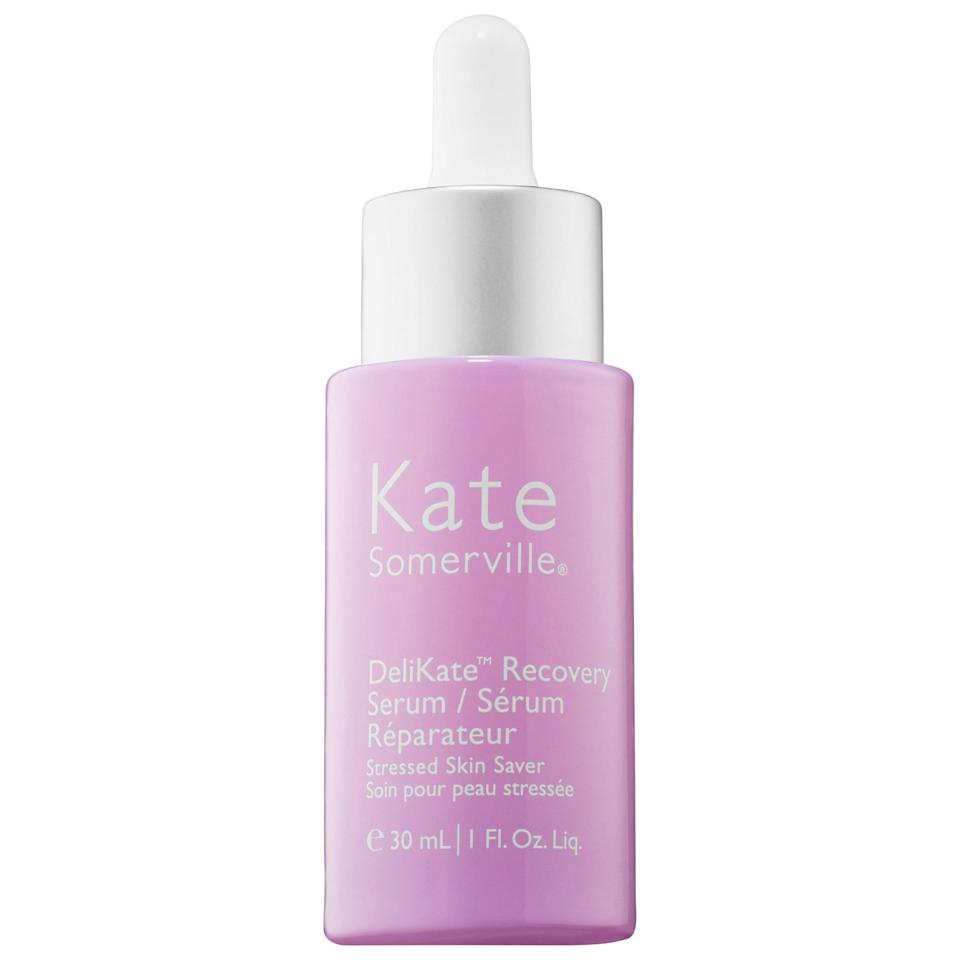 "<p>""Because I've been experiencing so much irritation from wearing my face mask outside, I've been relishing in coming home to treat my skin with the <a href=""https://www.popsugar.com/buy/Kate-Somerville-DeliKate-Recovery-Serum-578763?p_name=Kate%20Somerville%20DeliKate%20Recovery%20Serum&retailer=sephora.com&pid=578763&price=89&evar1=bella%3Aus&evar9=47519595&evar98=https%3A%2F%2Fwww.popsugar.com%2Fbeauty%2Fphoto-gallery%2F47519595%2Fimage%2F47519658%2FKate-Somerville-DeliKate-Recovery-Serum&list1=must%20haves%2Ceditors%20pick%2Cskin%20care&prop13=mobile&pdata=1"" class=""link rapid-noclick-resp"" rel=""nofollow noopener"" target=""_blank"" data-ylk=""slk:Kate Somerville DeliKate Recovery Serum"">Kate Somerville DeliKate Recovery Serum</a> ($89). It <em>is</em> a bit pricy, to be sure, but its potent enough for a little to go a long way - just one drop of the ceramides and cucumber seed oil-spiked liquid treats my entire face. The result comes the next day, when I wake up to far less redness than I did before bed."" - KC</p>"